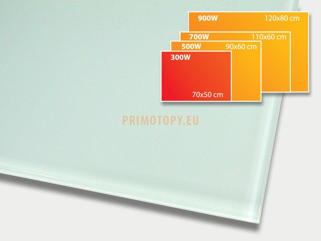 ECOSUN 300 GR White, sálavý skleněný panel 300 W
