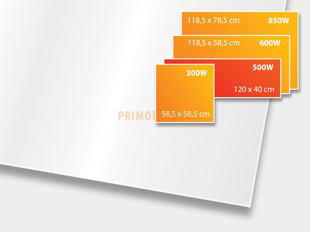 ECOSUN 500 GS White (mléčně bílá), sálavý skleněný panel 500 W
