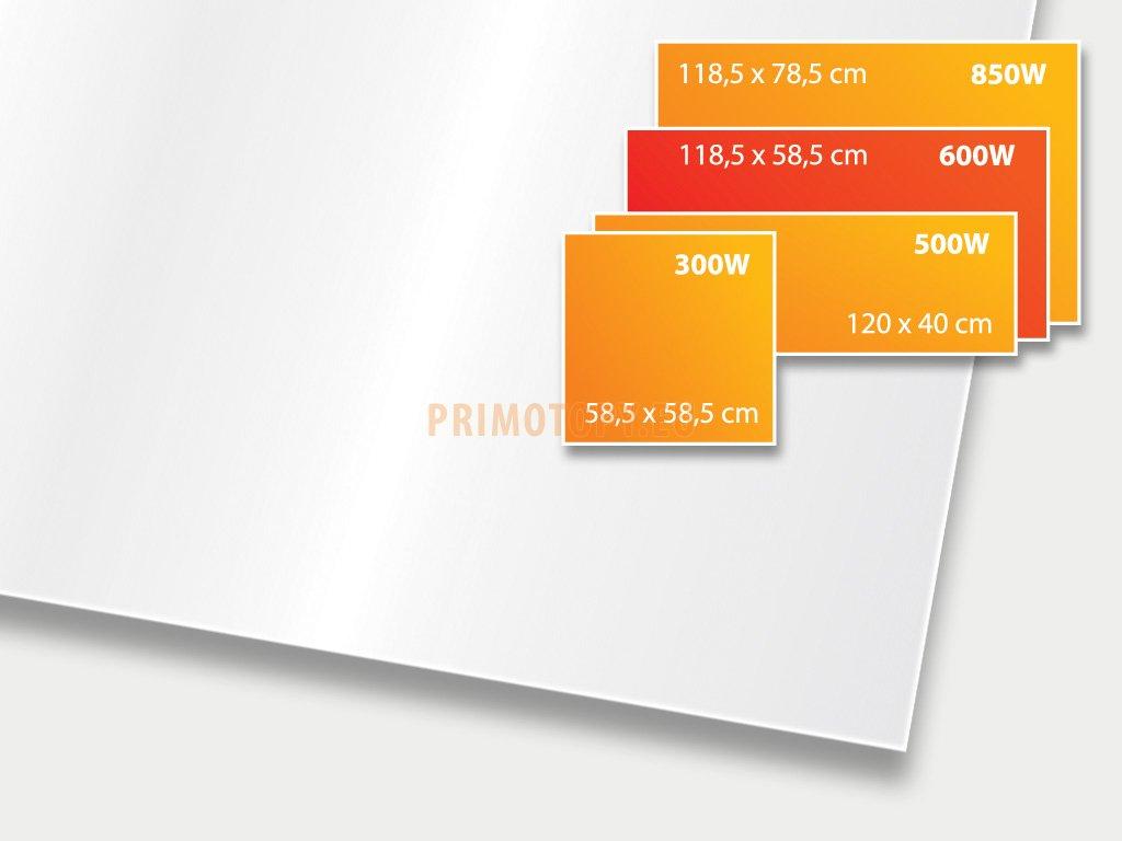 ECOSUN 600 GS White (mléčně bílá), sálavý skleněný panel 600 W