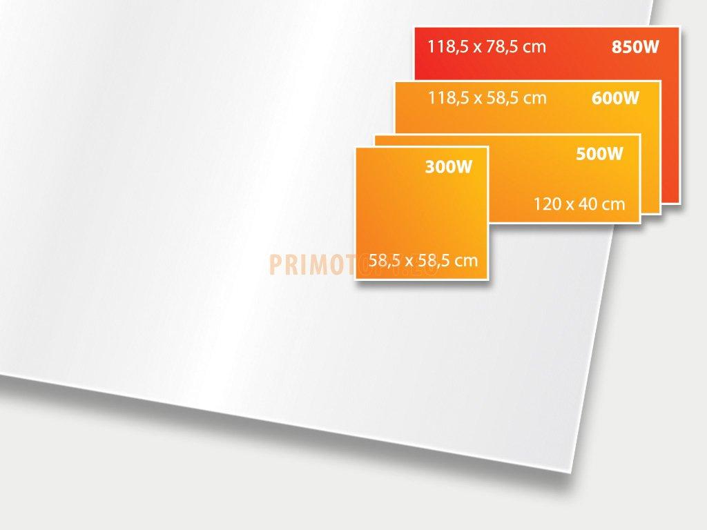 ECOSUN 850 GS White (mléčně bílá), sálavý skleněný panel 850 W