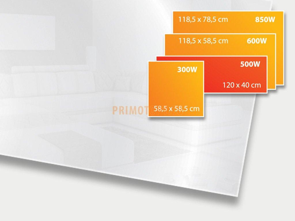 ECOSUN 500 GS Mirror, sálavý skleněný panel 500 W