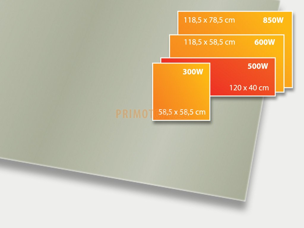 ECOSUN 500 GS Basalt, sálavý skleněný panel 500 W