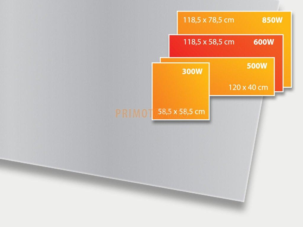ECOSUN 600 GS Platinum Grey, sálavý skleněný panel 600 W