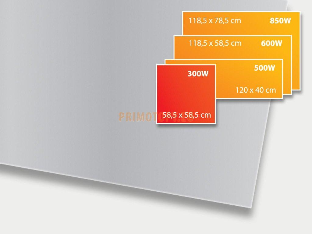 ECOSUN 300 GS Platinum Grey, sálavý skleněný panel 300 W