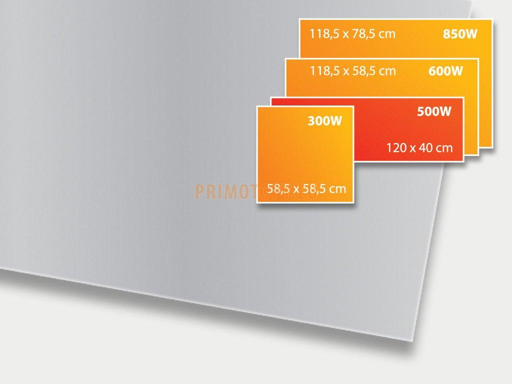 ECOSUN 500 GS Platinum Grey, sálavý skleněný panel 500 W