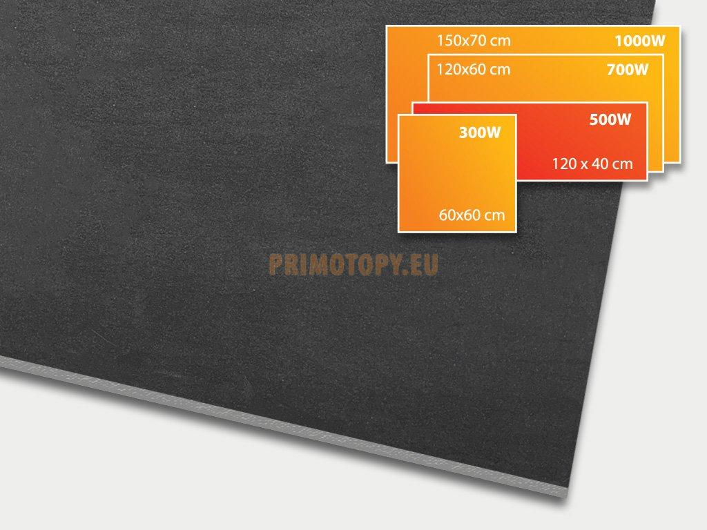 ECOSUN 500 CR Basalt black, keramický topný infrapanel 500 W