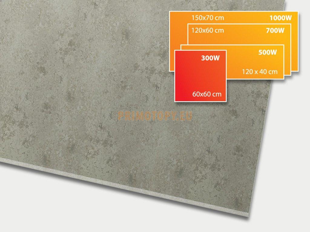 ECOSUN 300 CR Beton, keramický topný infrapanel 300 W