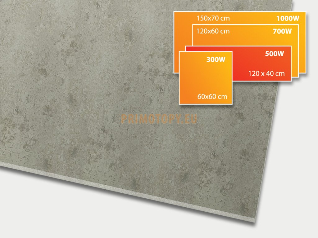 ECOSUN 500 CR Beton, keramický topný infrapanel 500 W