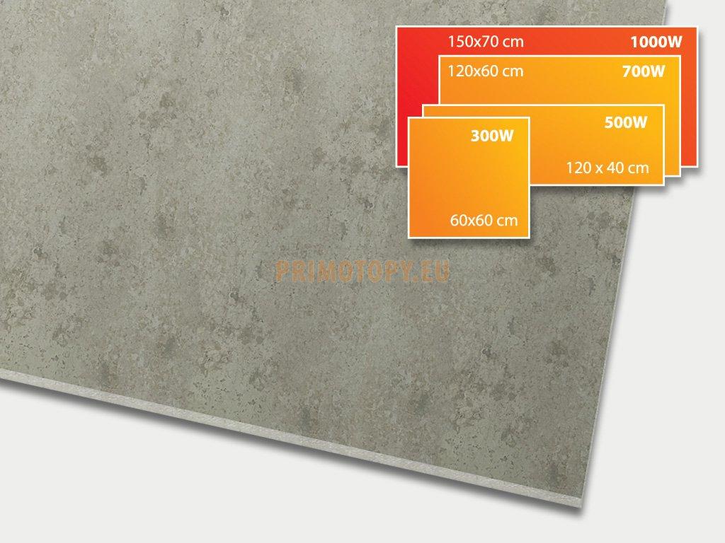 ECOSUN 1050 CR Beton, keramický topný infrapanel 1050 W
