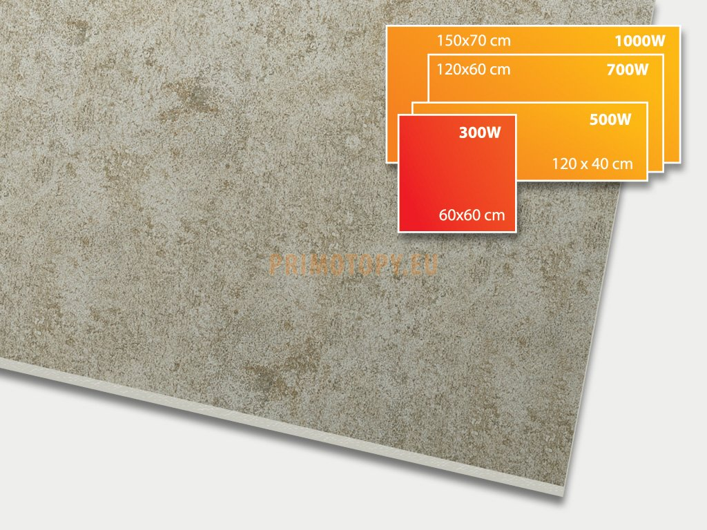 ECOSUN 300 CR Concrete Taupe, keramický topný infrapanel 300 W