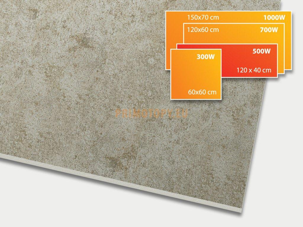 ECOSUN 500 CR Concrete Taupe, keramický topný infrapanel 500 W
