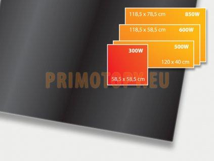 ECOSUN 300 GS Black (černá), sálavý skleněný panel 300 W