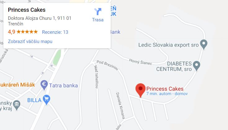 Mapa cukrárskej výroby Princess Cakes Trenčín