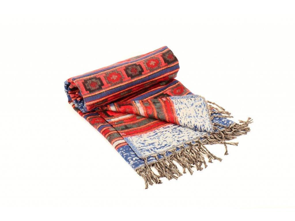 deka se vzorem modrá červená
