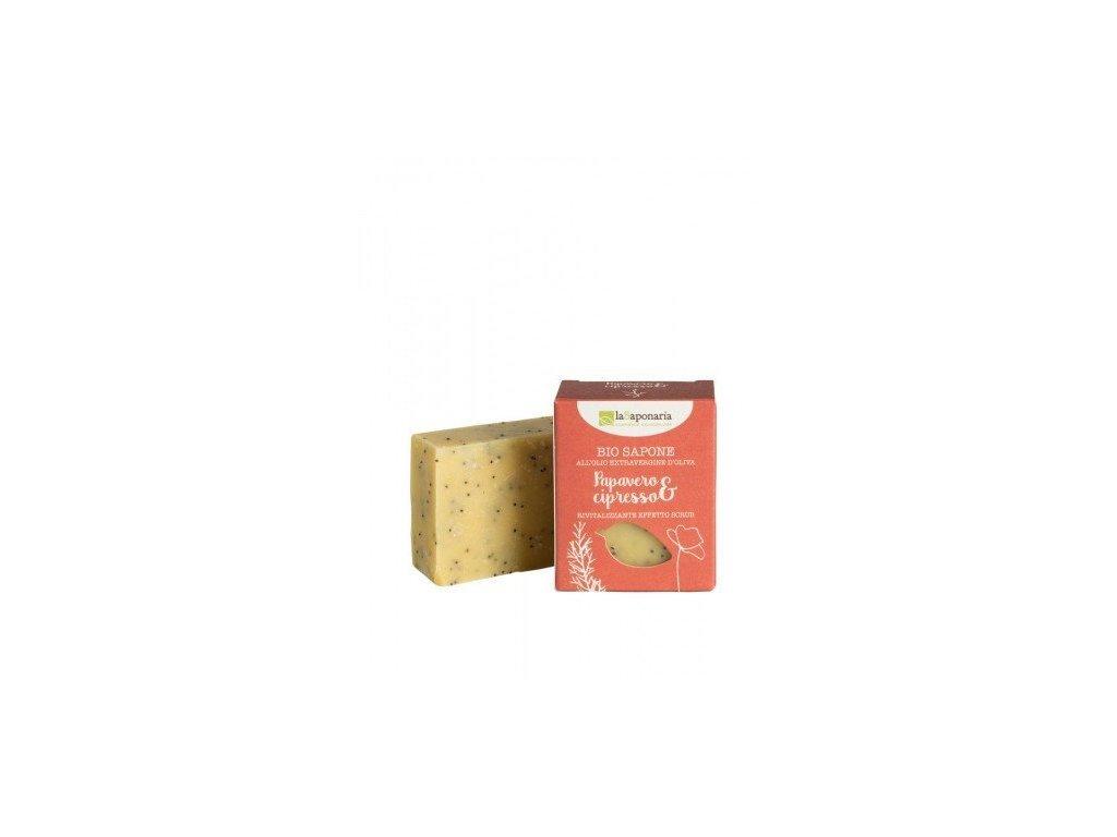 laSaponaria Tuhé olivové mýdlo BIO - Mák a cypřiš (100 g)