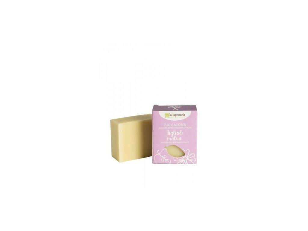laSaponaria Tuhé olivové mýdlo BIO - Lípa a sléz (100 g)