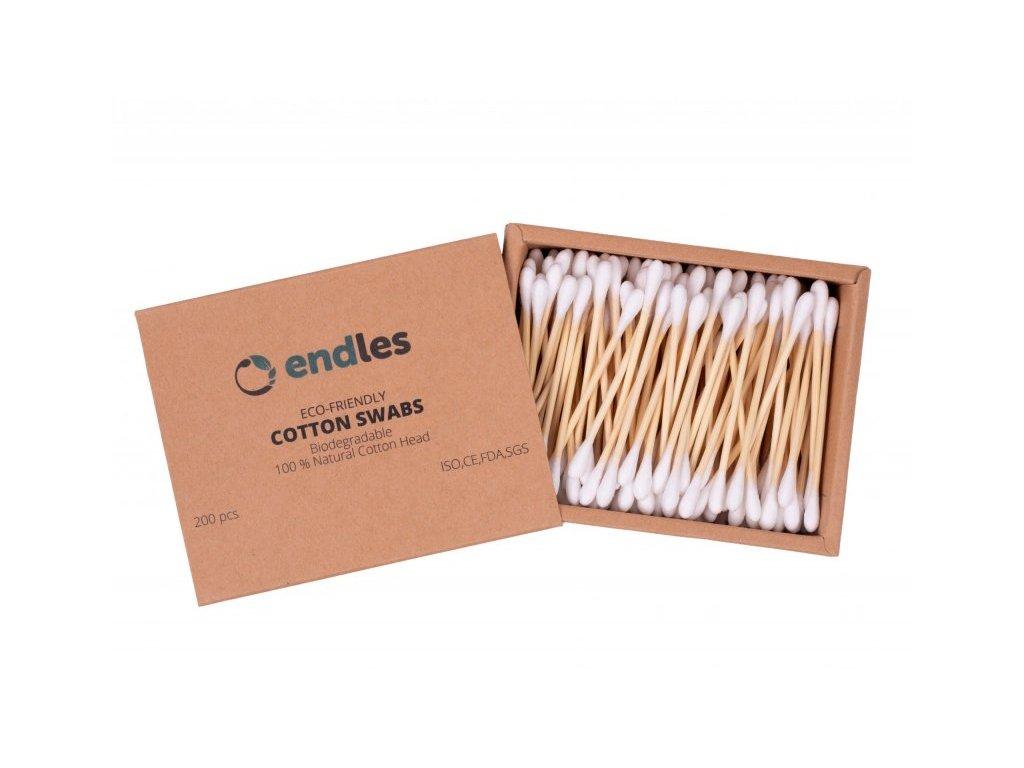 Endles by Econea Vatové tyčinky do uší (200 ks) - z bambusu a bavlny