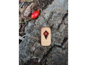 Dřevěný přívěsek s jaspisem
