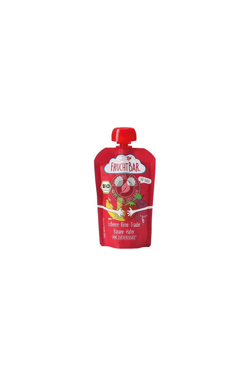 FruchtBar Bio Pueree Erdbeere Birne Traube Banane Hafer V4 facebook Shop 540x540