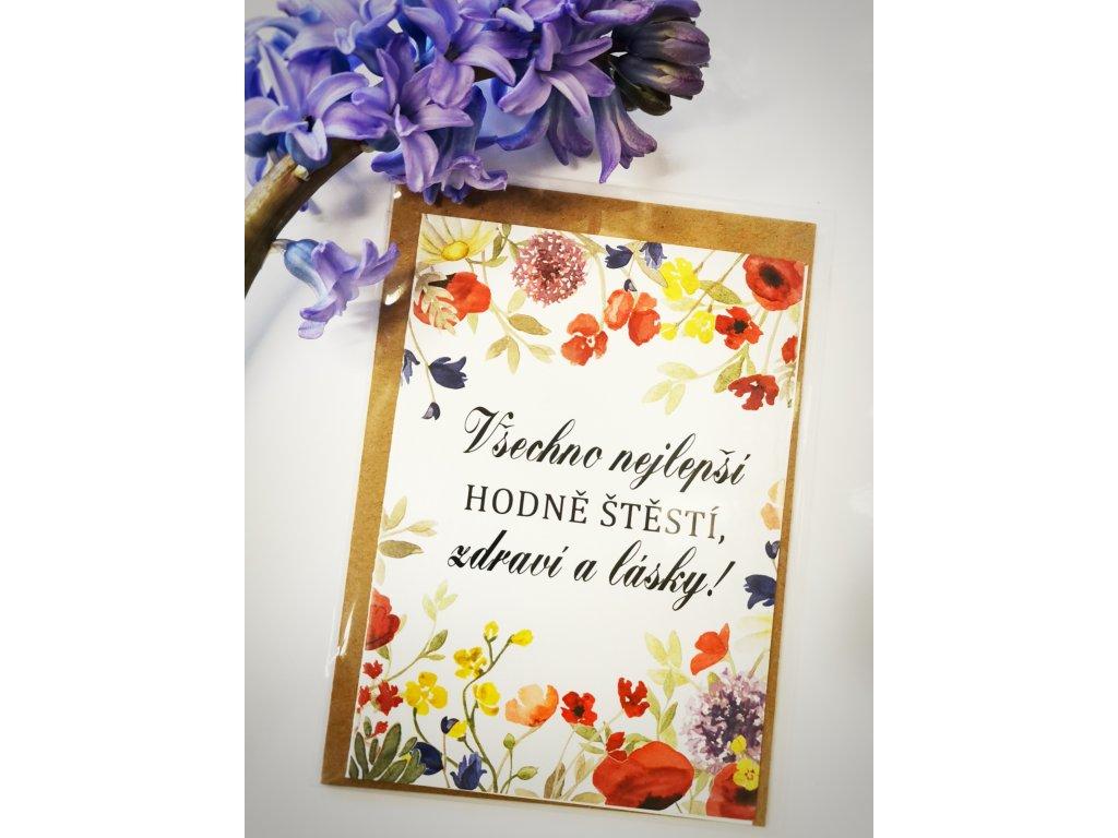 Přání - Gratulační/ květiny
