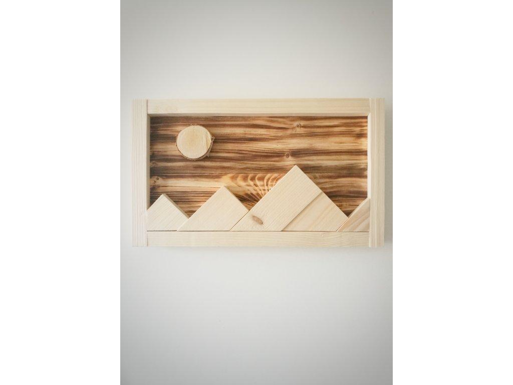 Dřevěný obraz - Hory v noci