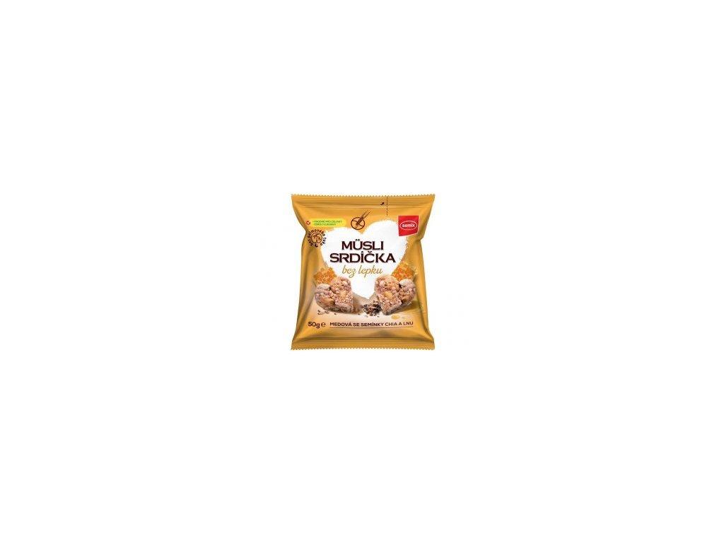 Musli srdíčka bez lepku medová se semínky chia a lnu 50g
