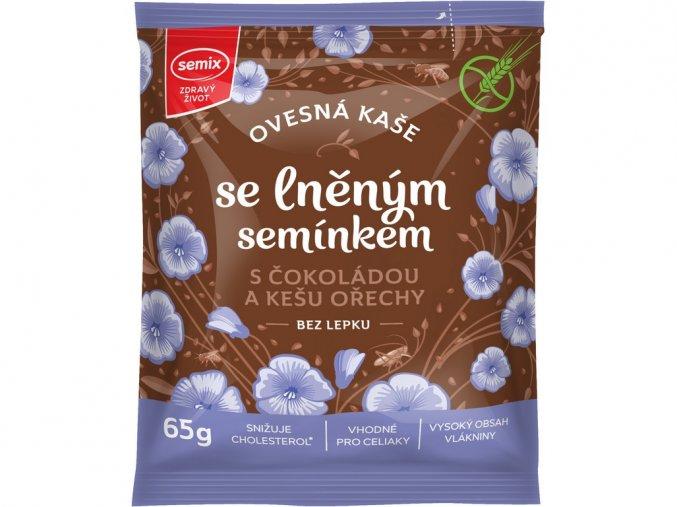 Ovesná kaše s čokoládou, kešu ořechy a lněným semínkem 65g