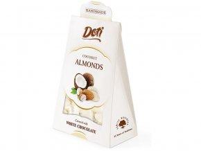 53889 mandle v bile cokolade s kokosem darkova tasticka 100g