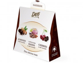 53892 tresne v cokolade mandle v cokolade rozinky v bile cokolade darkova krabicka 3x 50g