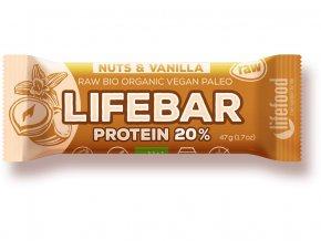 67011 bio tycinka lifebar protein vanilla nuts 47g