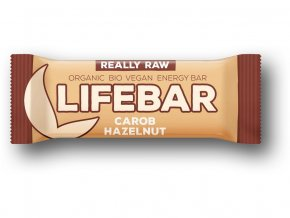 Bio tyčinka Lifebar karobová s lískovými oříšky 47g