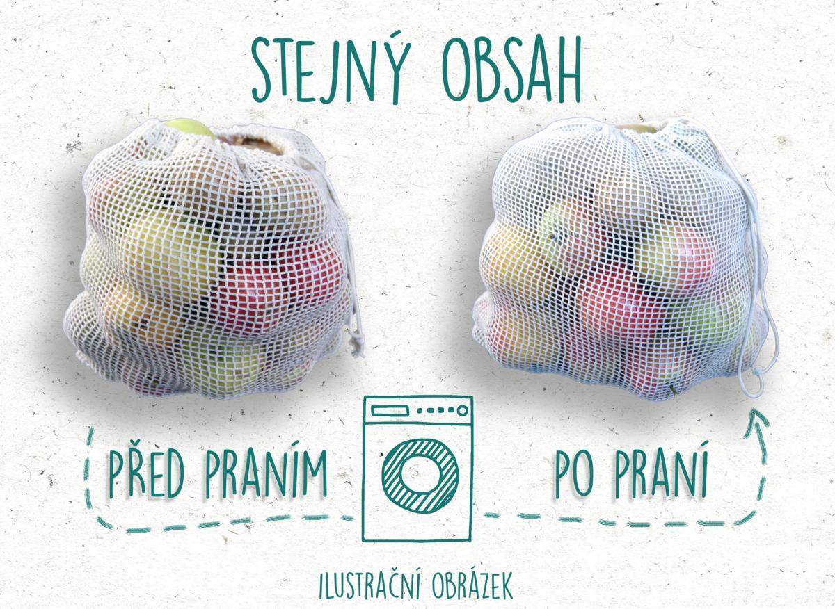 CASA ORGANICA Síťový pytlík z biobavlny na ovoce a zeleninu – malý (30 × 20 cm)