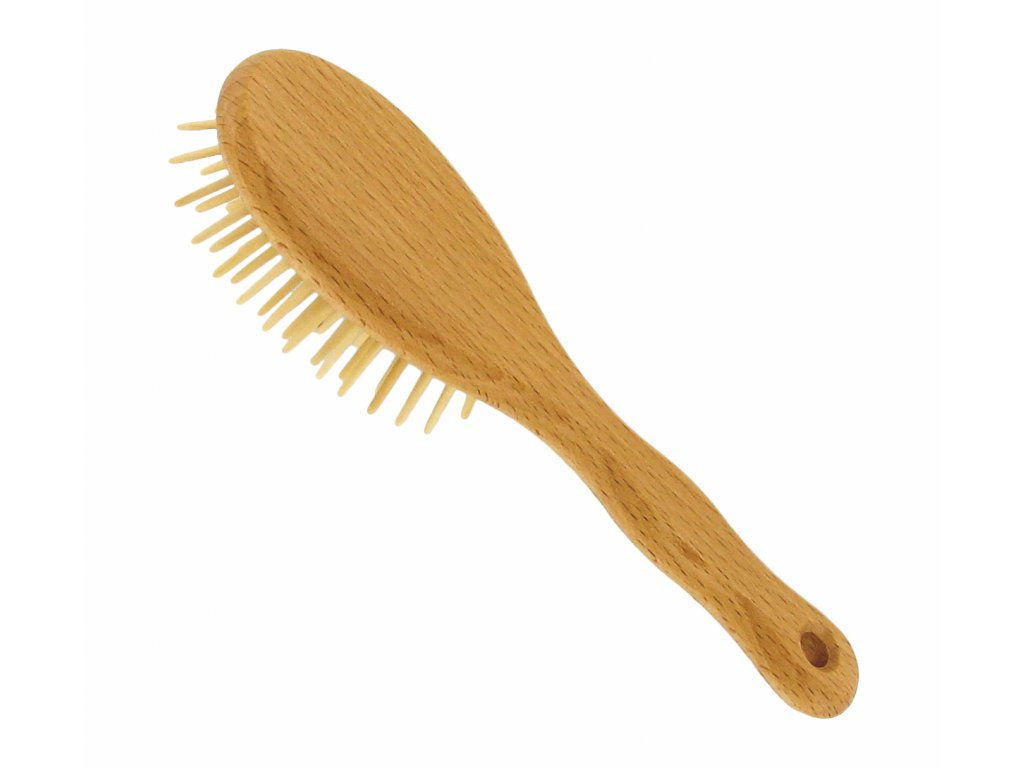 Förster´s vlasový kartáč z FSC certif. bukového dřeva - se špičatými dřevěnými ostny - malý