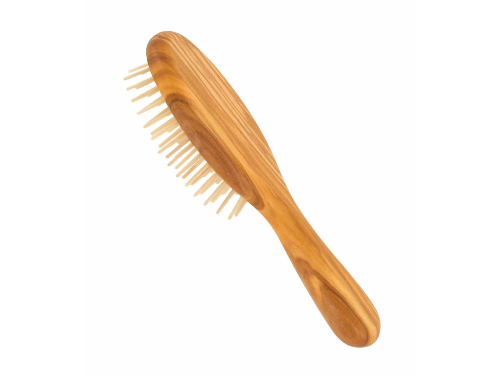 Förster´s vlasový kartáč z olivového dřeva - se špičatými dřevěnými ostny - malý
