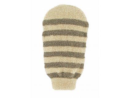 Förster´s masážní rukavice - bio len - proužky s 2 hrubostmi