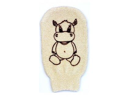 Förster´s dětská mycí žínka - bio bavlna - velká - s obrázkem hrošíka