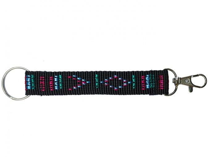 Popruh barevný krátký černý indián