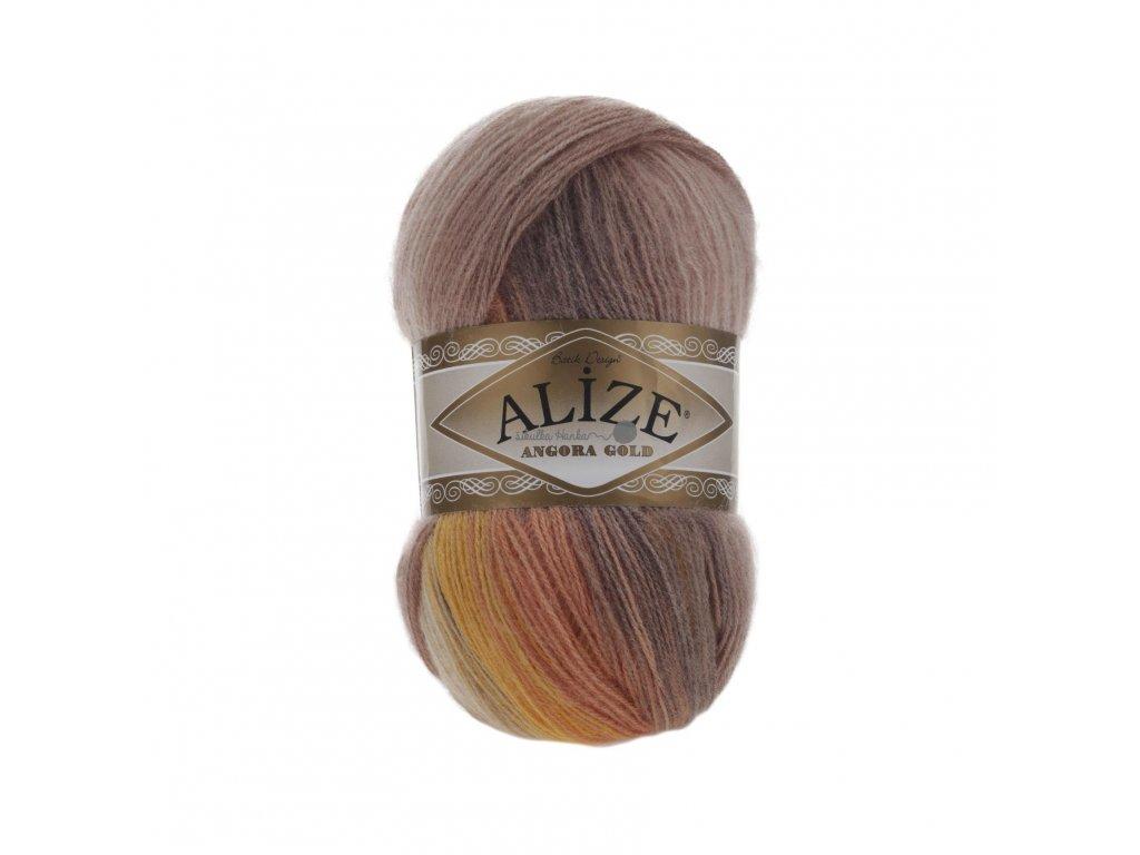 Angora gold batik 4741 hnědo-oranžová