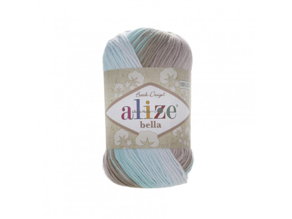Příze Alize Bella batik 3675 tyrkysovo-hnědá