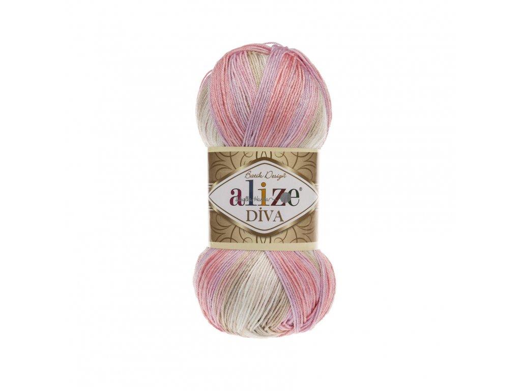 Příze Alize Diva batik 2807 růžovo-světlá