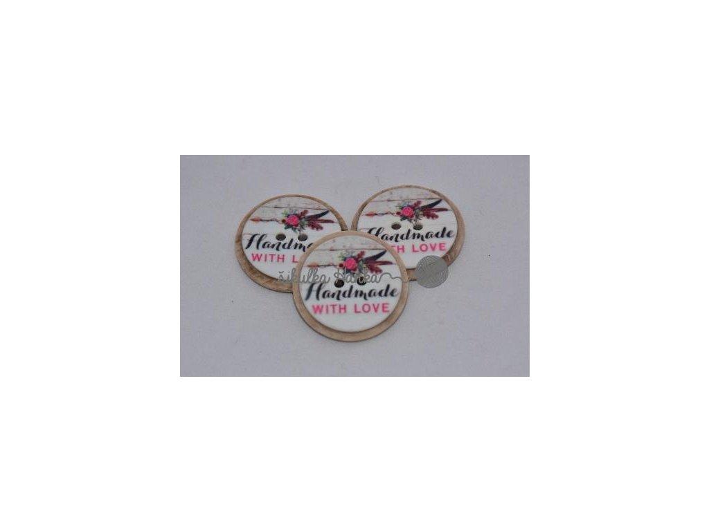 Knoflík Hand made růžička - plast