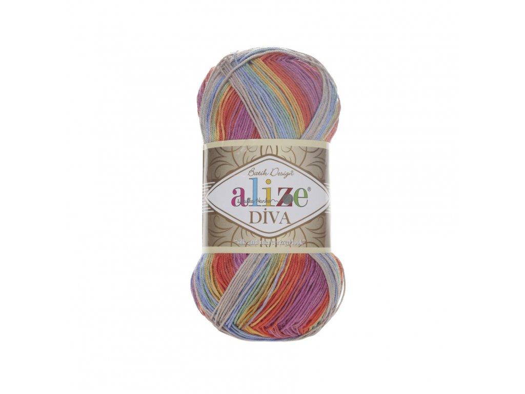 Příze Alize Diva batik 3242 šedo-barevná