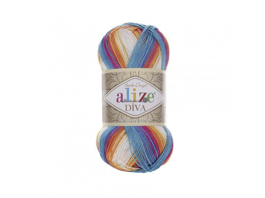 Příze Alize Diva batik 4538 oranžovo-modro-bílá