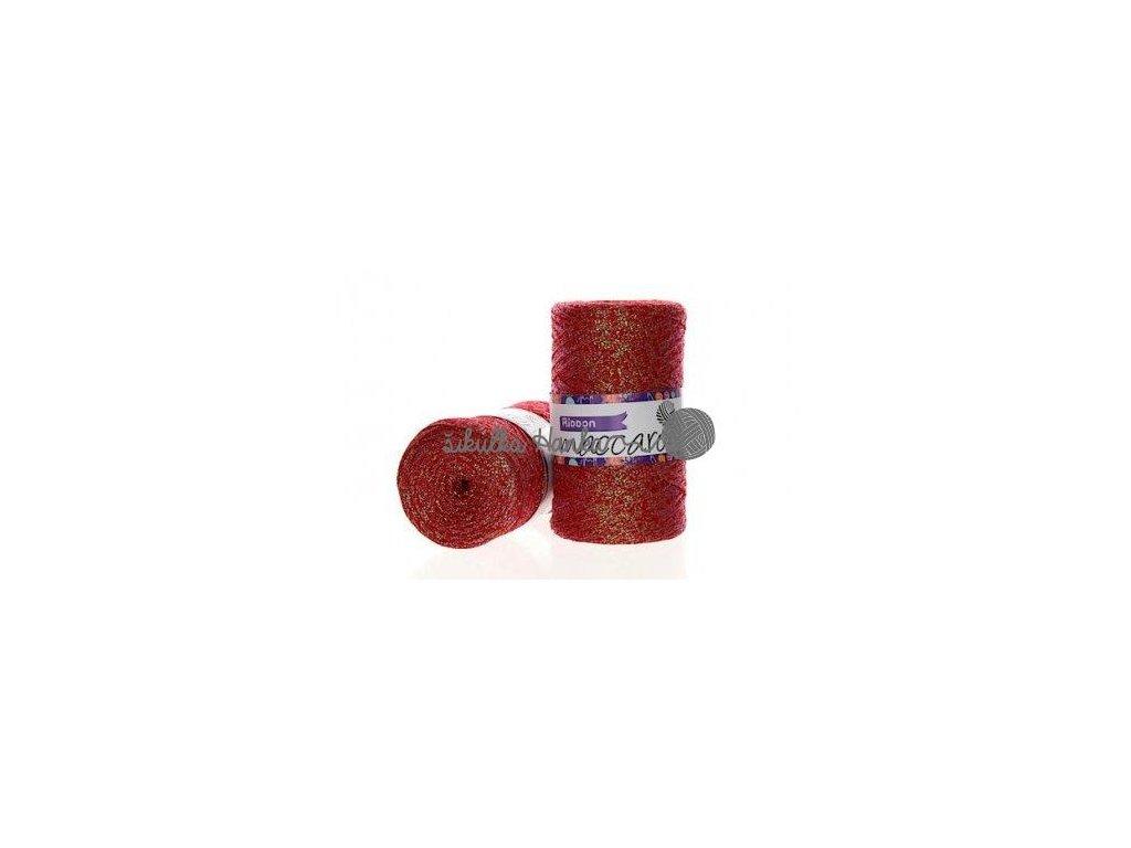 Ribbon s lurexem 08 červená