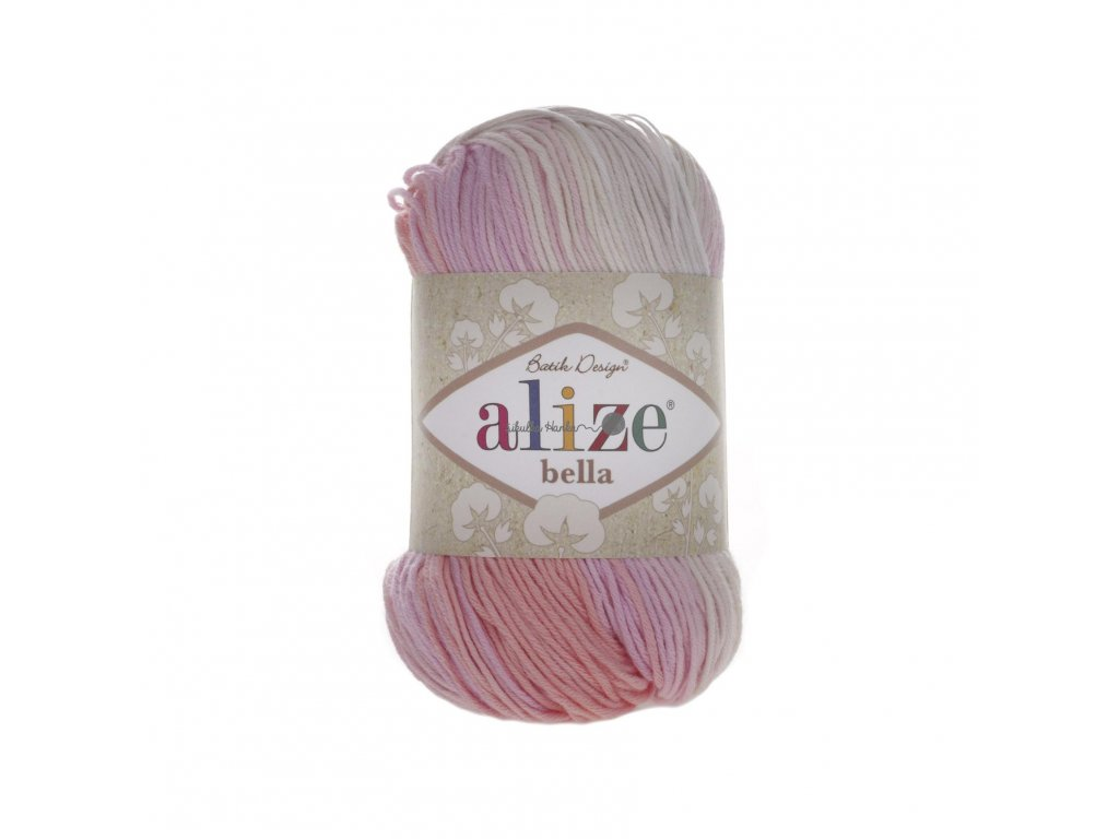 Příze Alize Bella batik 2807 růžovo-béžovo-bílá