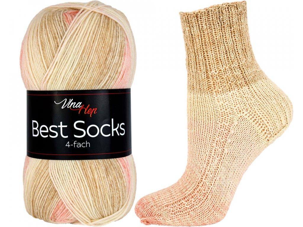 Příze Best socks 7327 světle hnědo-růžová