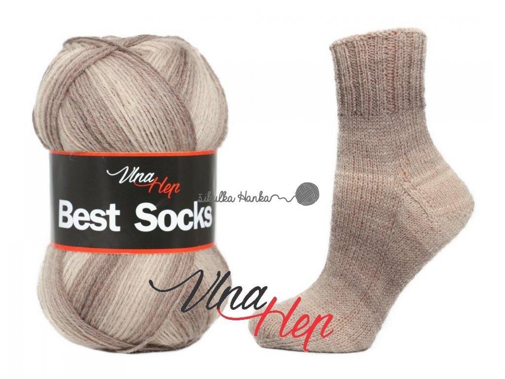 Příze Best socks 7104 hnědý proužek