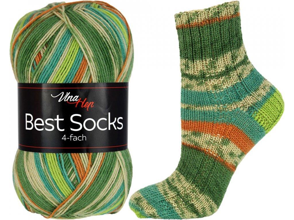 Příze Best socks 7313 zeleno-hnědá