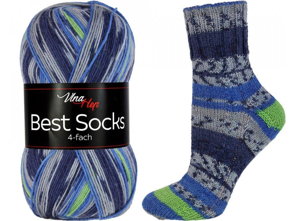 Příze Best socks 7314 modro-zelená