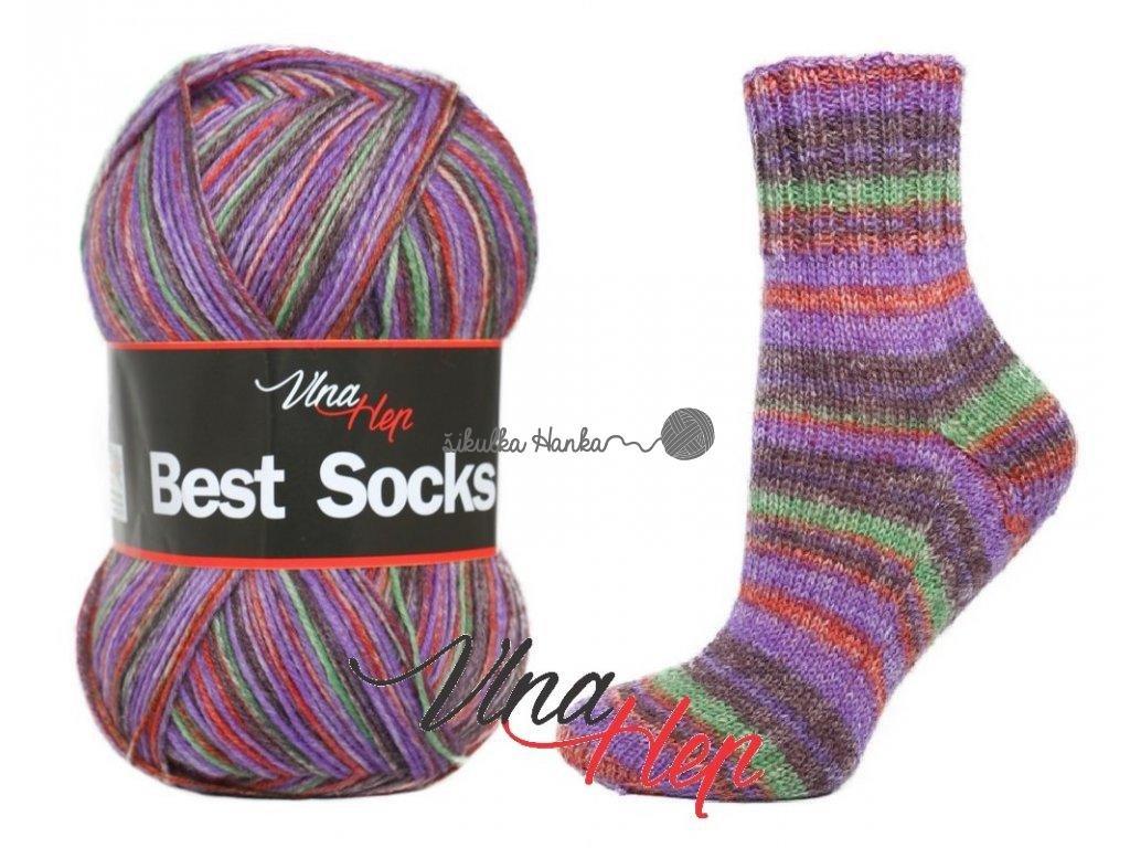 Příze Best socks 7119 fialovo-červená
